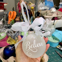 Believe Glass ornament
