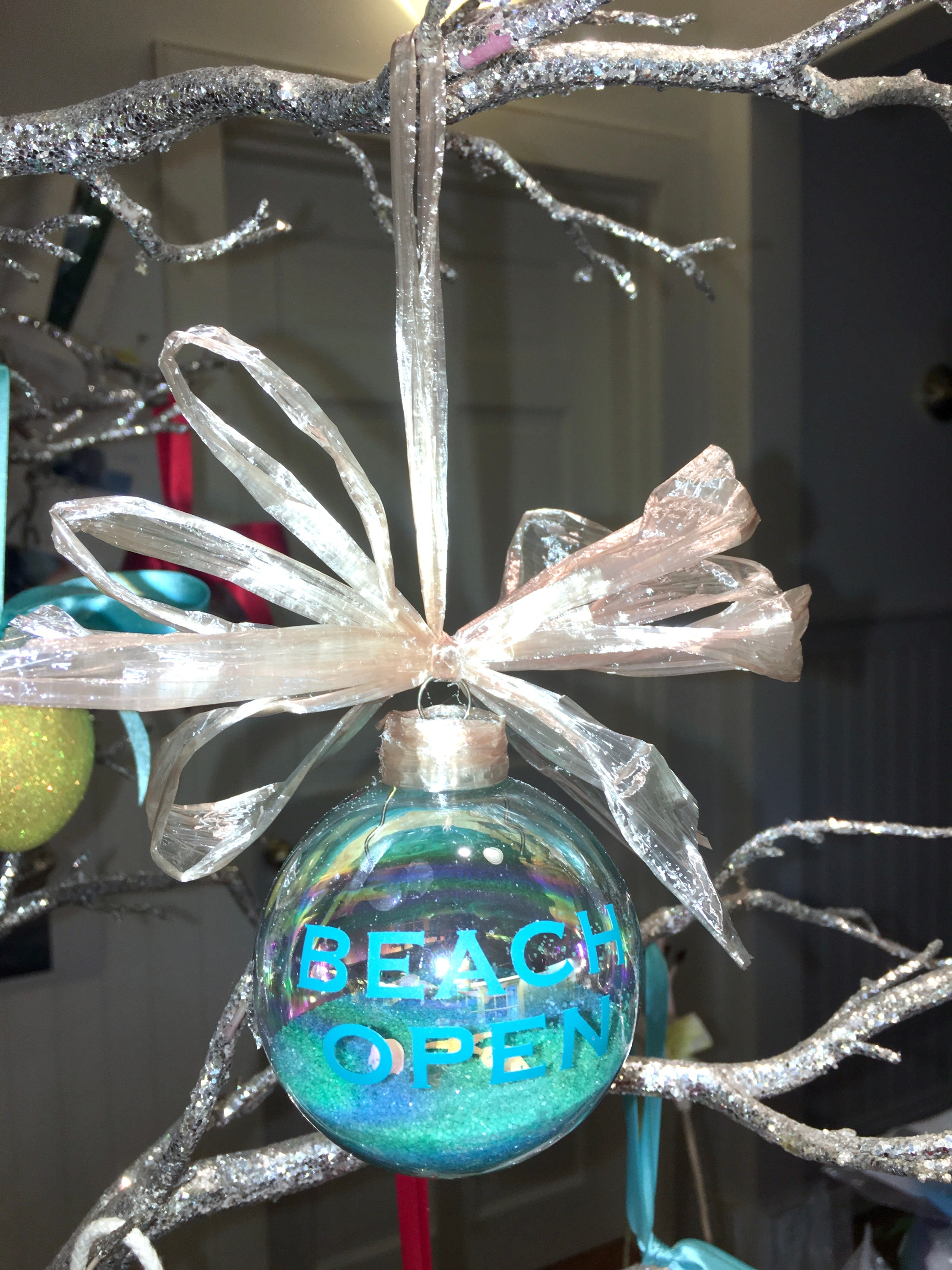 BEACH OPEN glass ornament