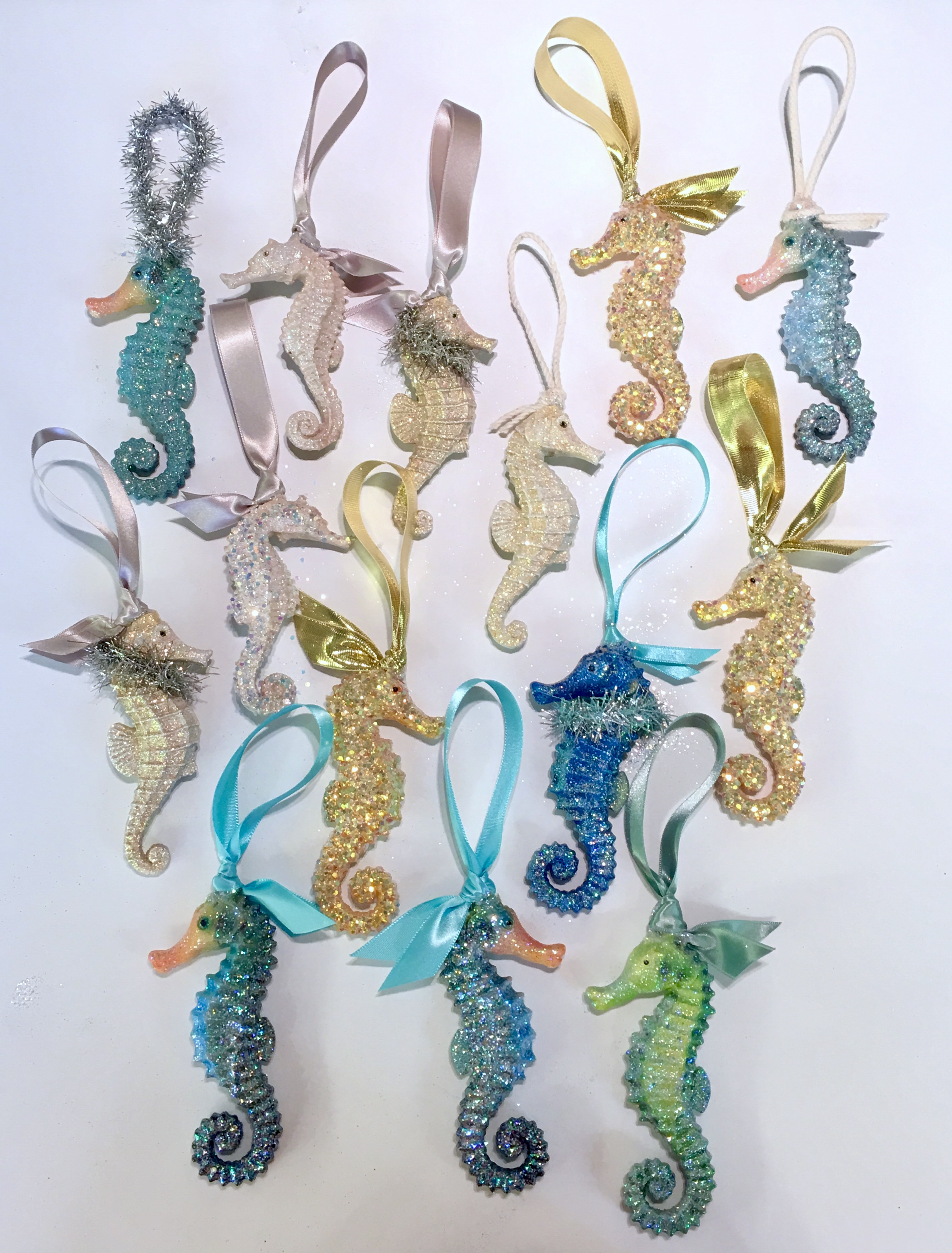 assorted sea horse ornaments