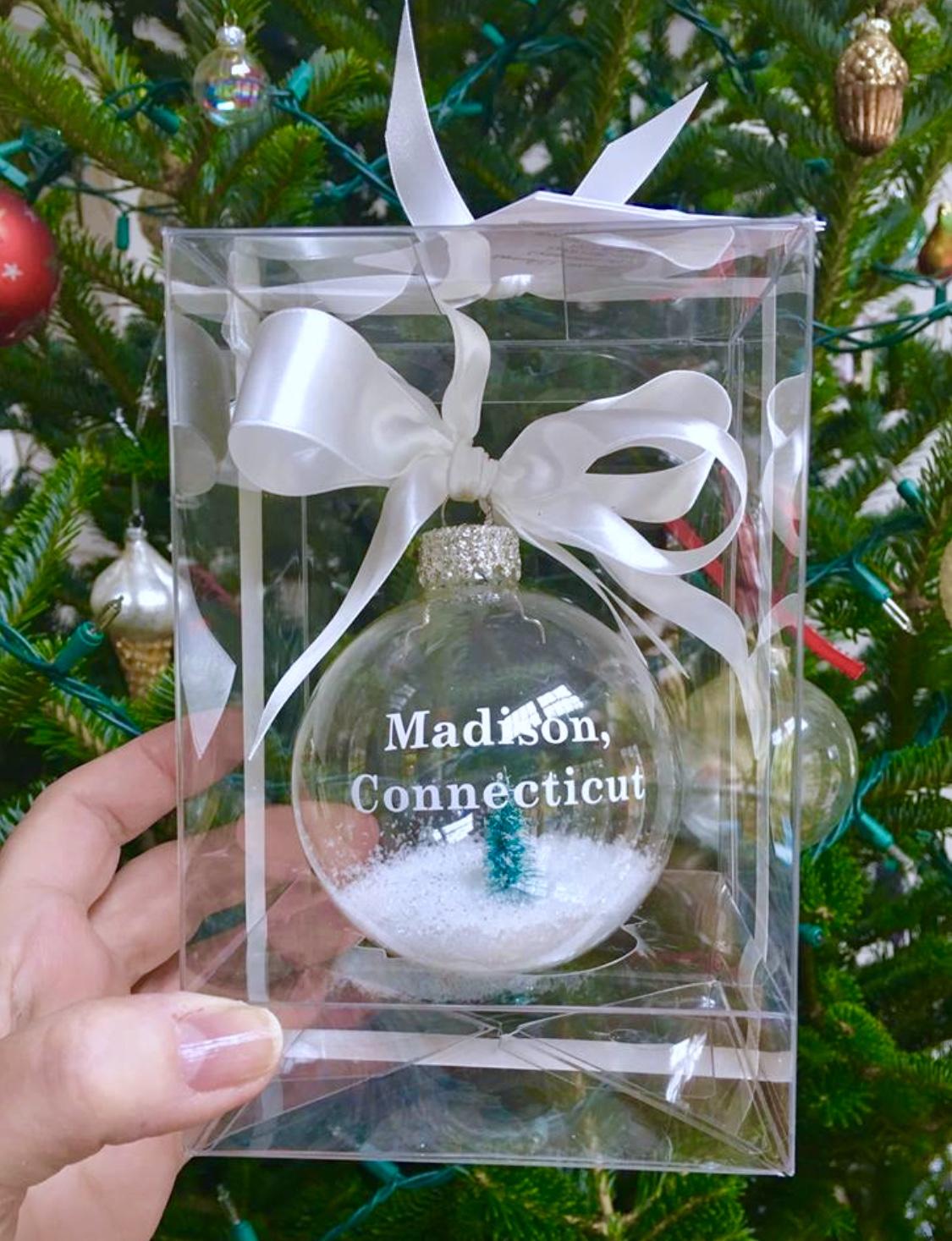 custom glass ornament w/ snow & tree