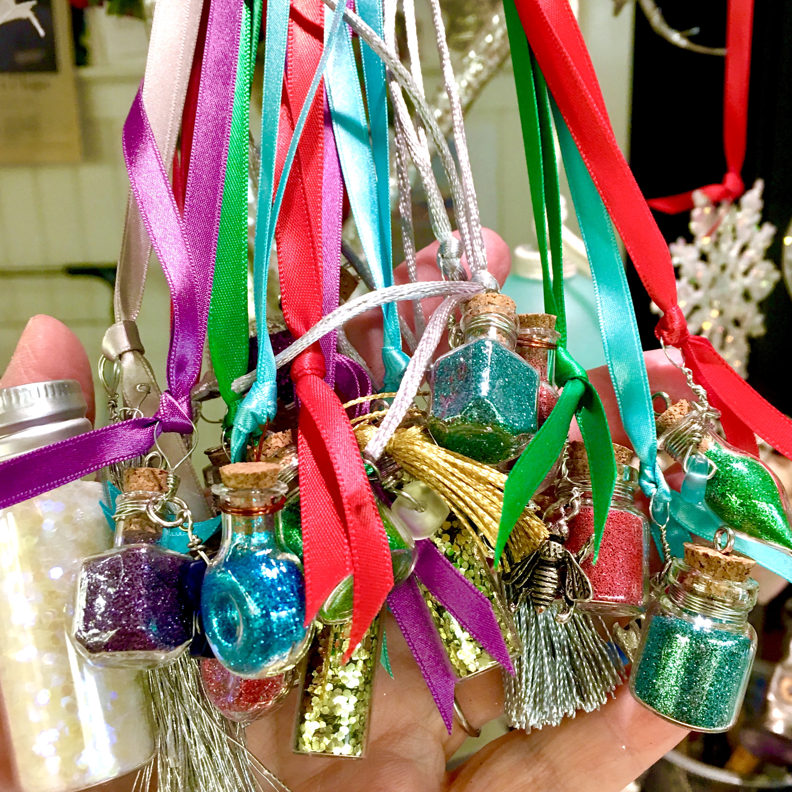 fairy wishing bottles on ribbon