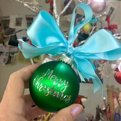 Merry Christmas Glass Ornament