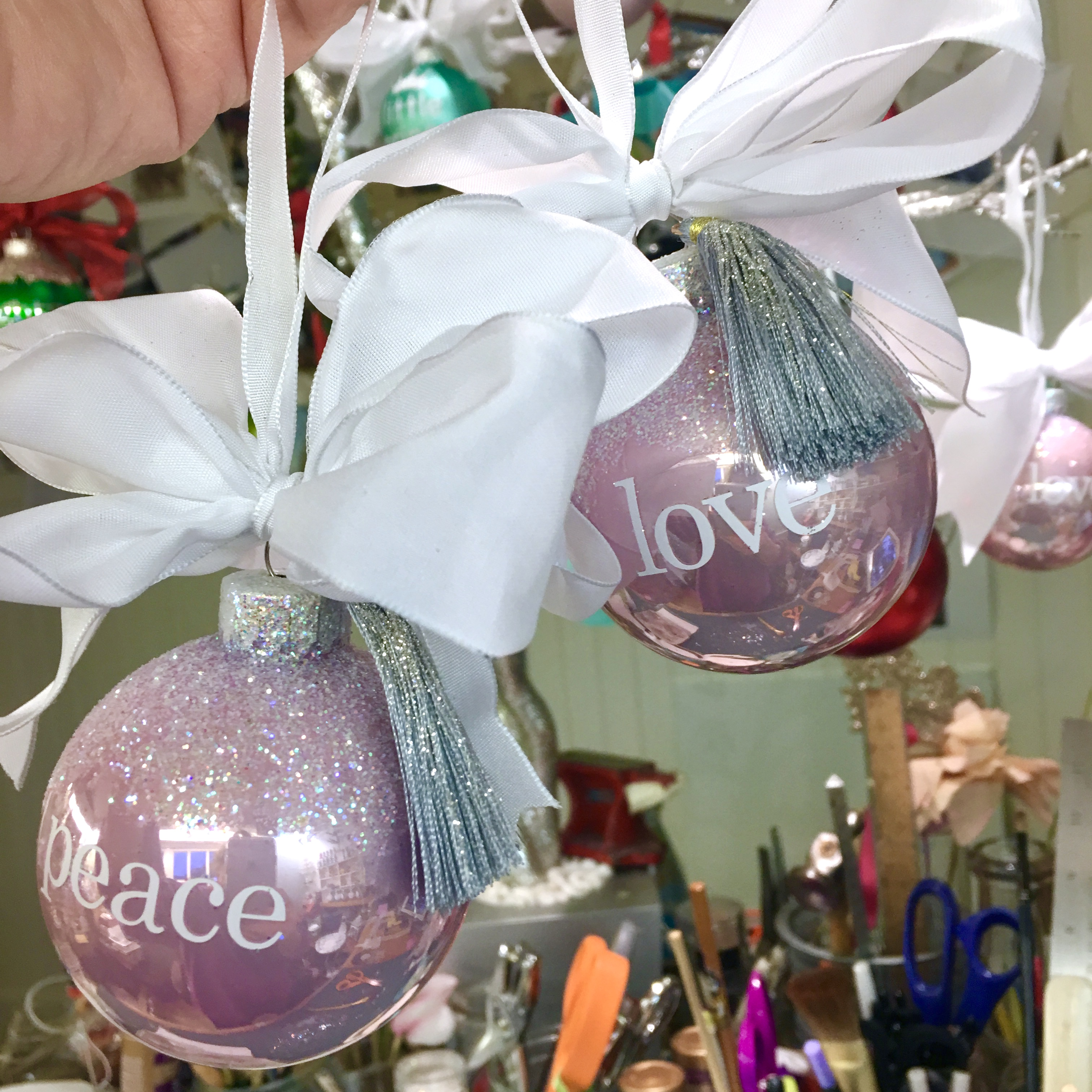 peace & love glass ornament