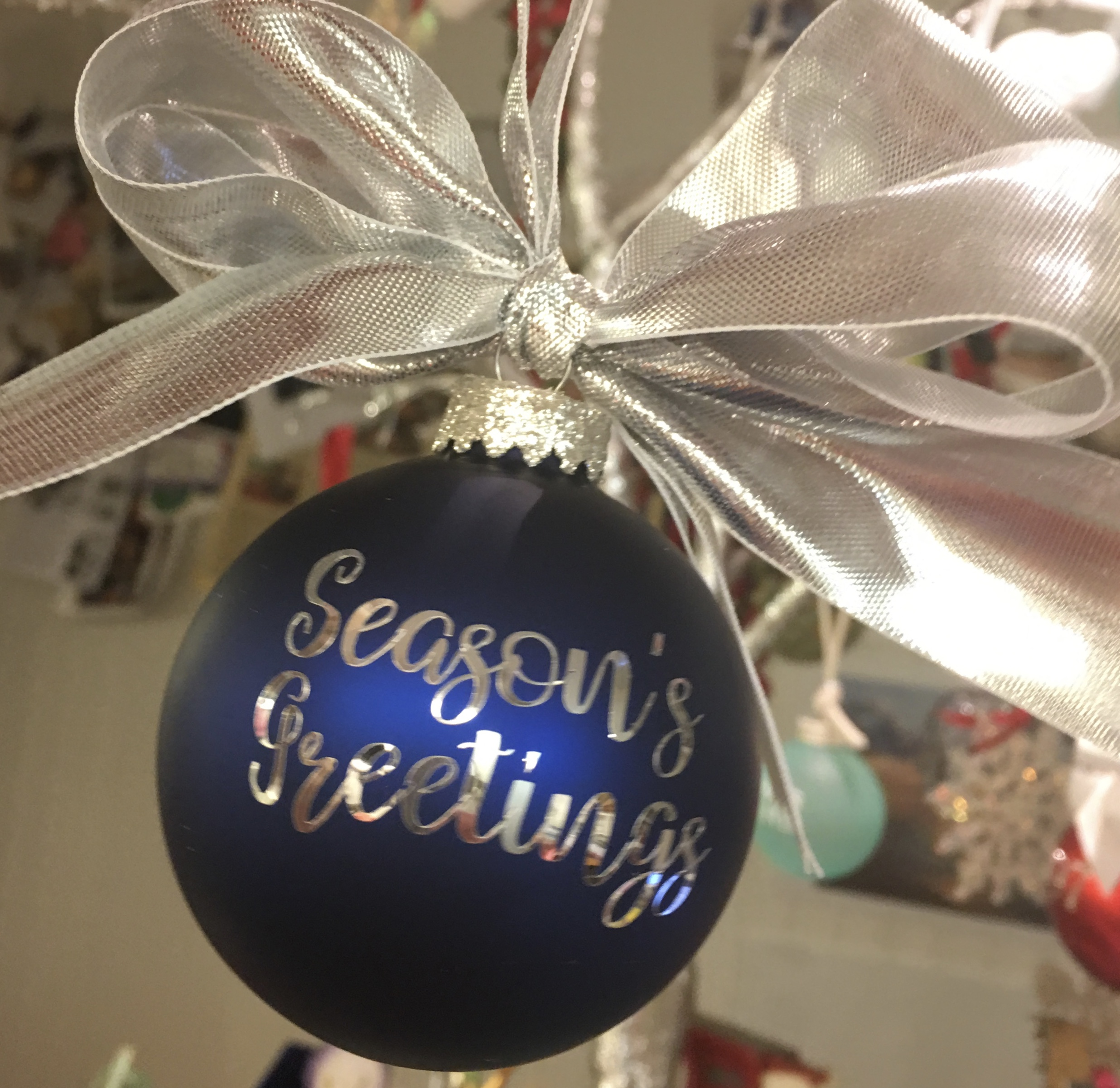 Season's Greetings Glass Ornament