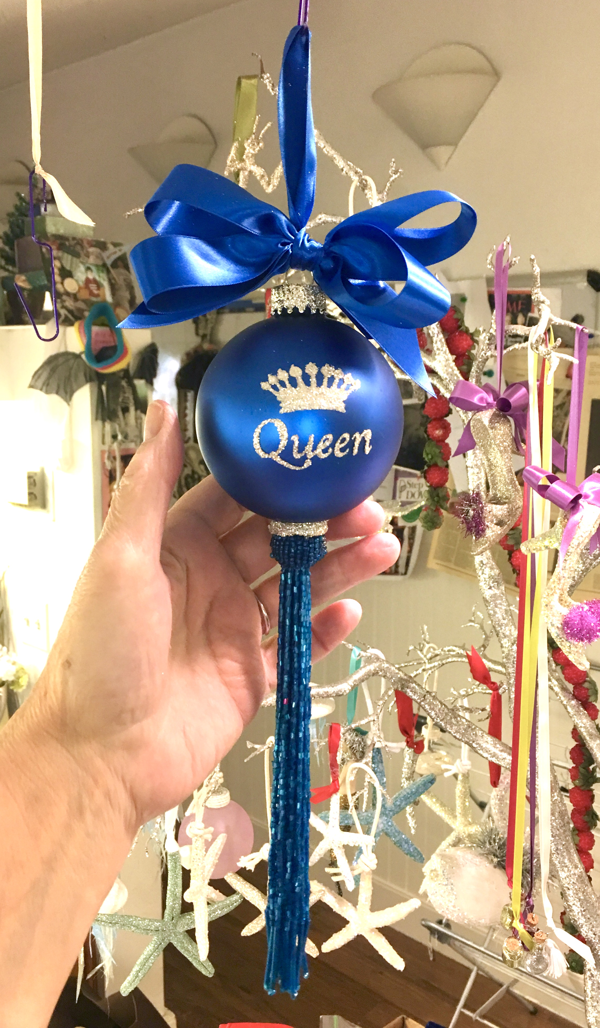 Queen Glass Ornament with tassel