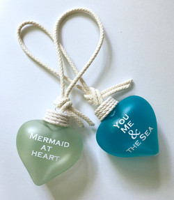 glalss heart ornaments