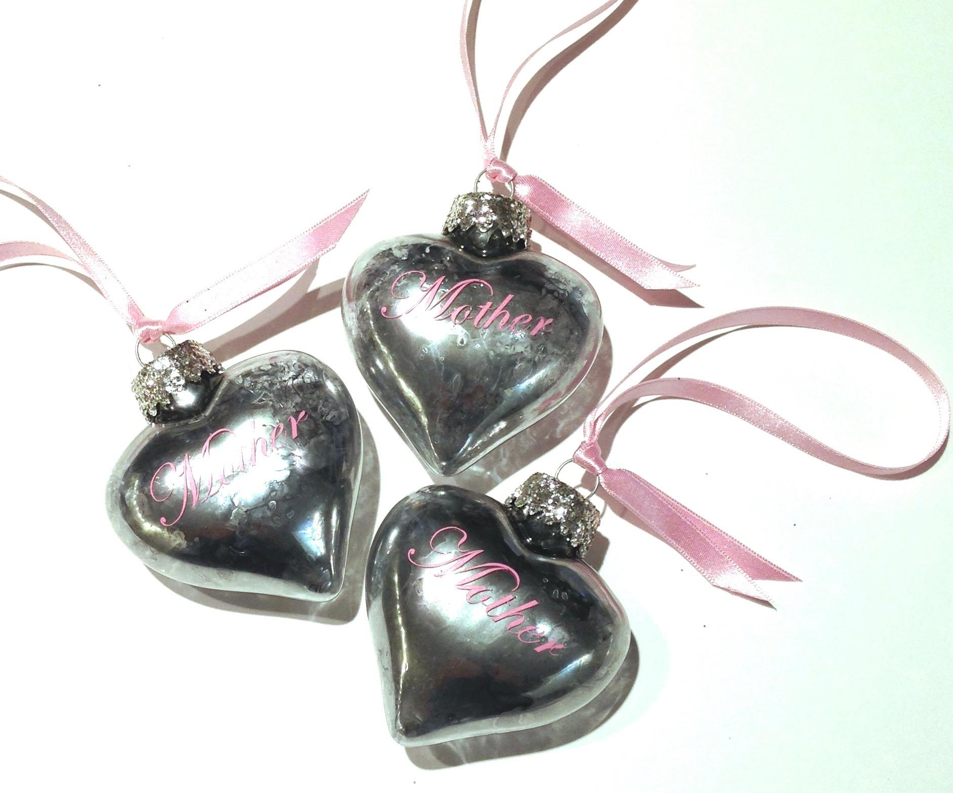 Mercury Glass Heart Ornaments