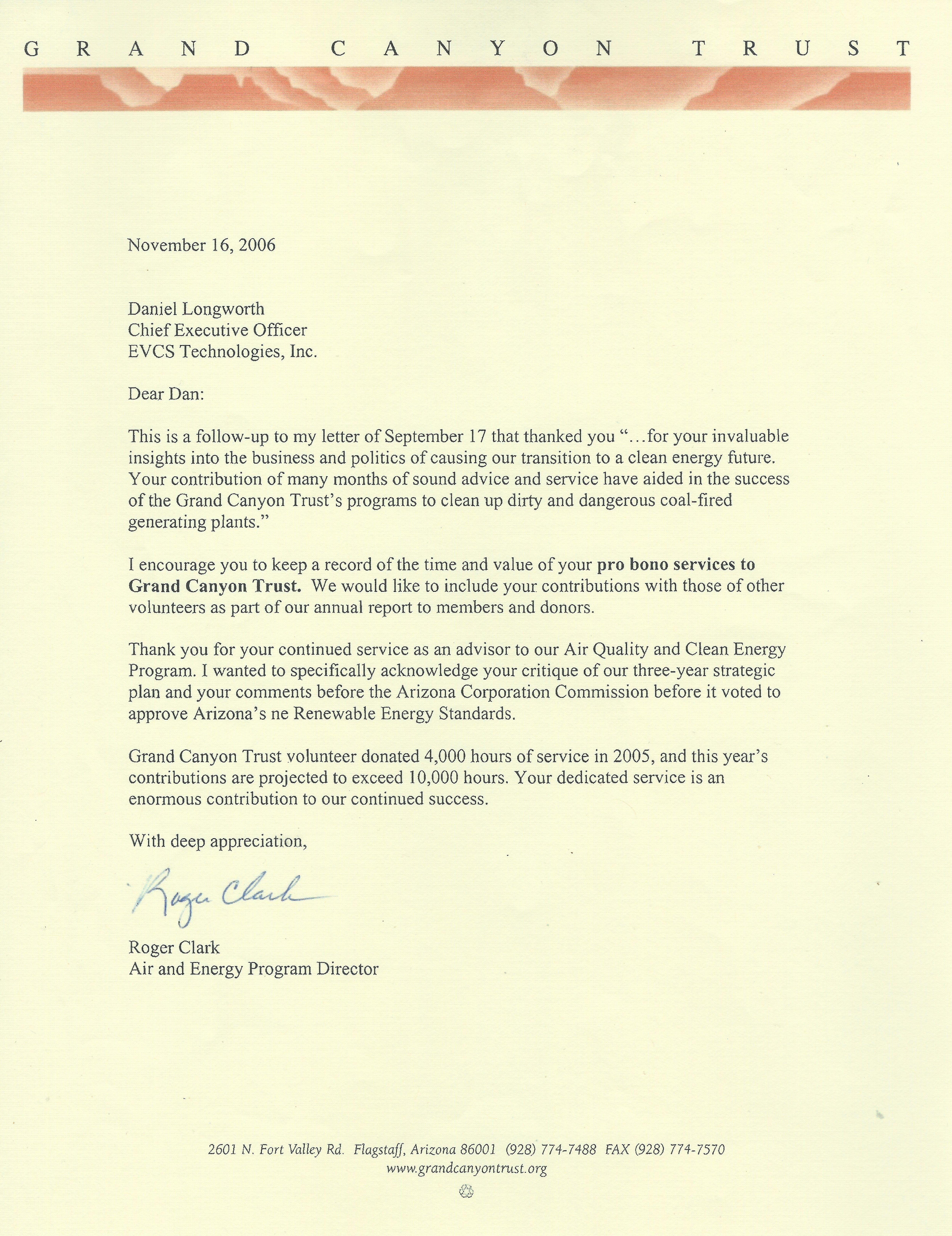 Advisor Letter-Grand Canyon Trust!