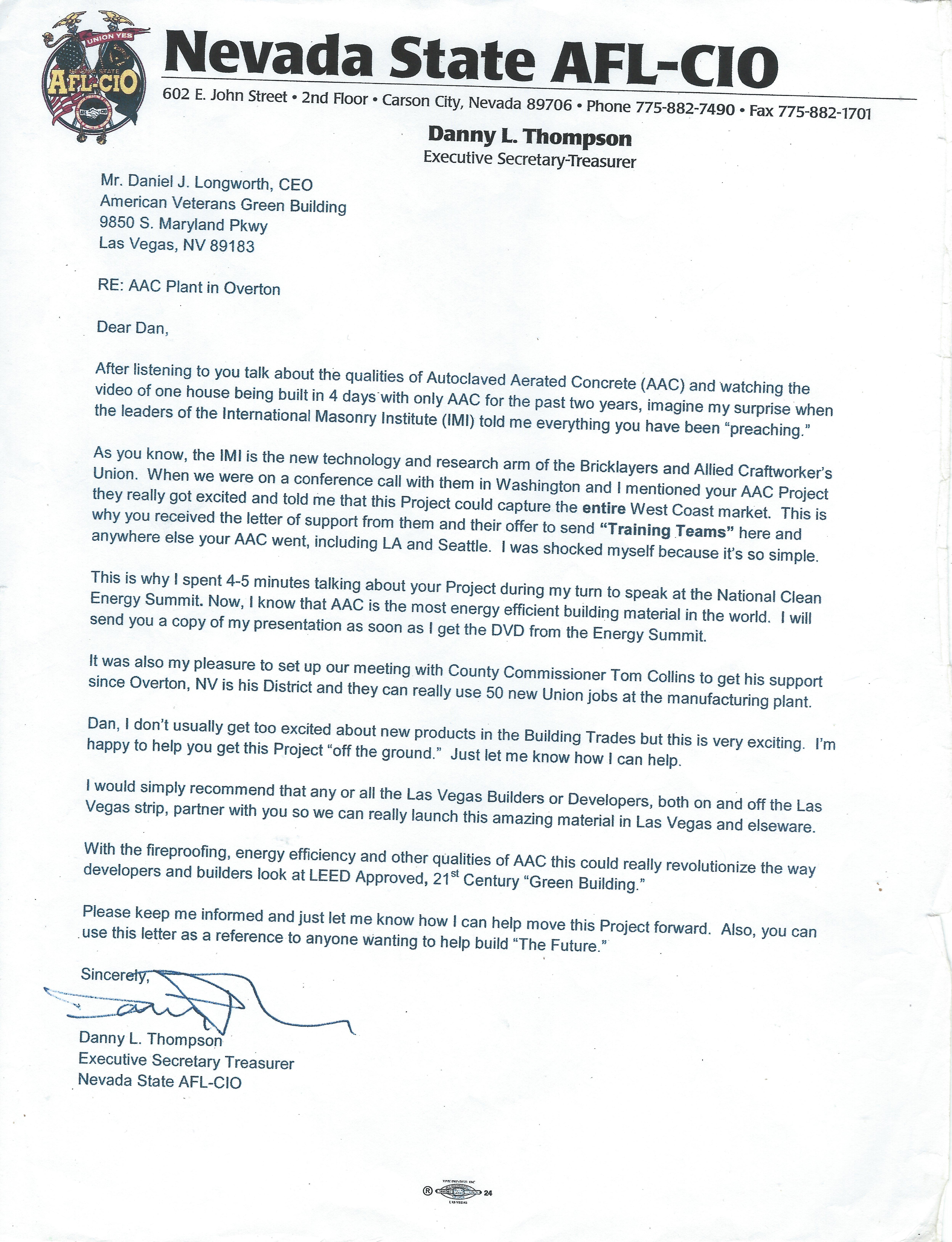 Endorsement Letter- AFL-CIO EX Presi