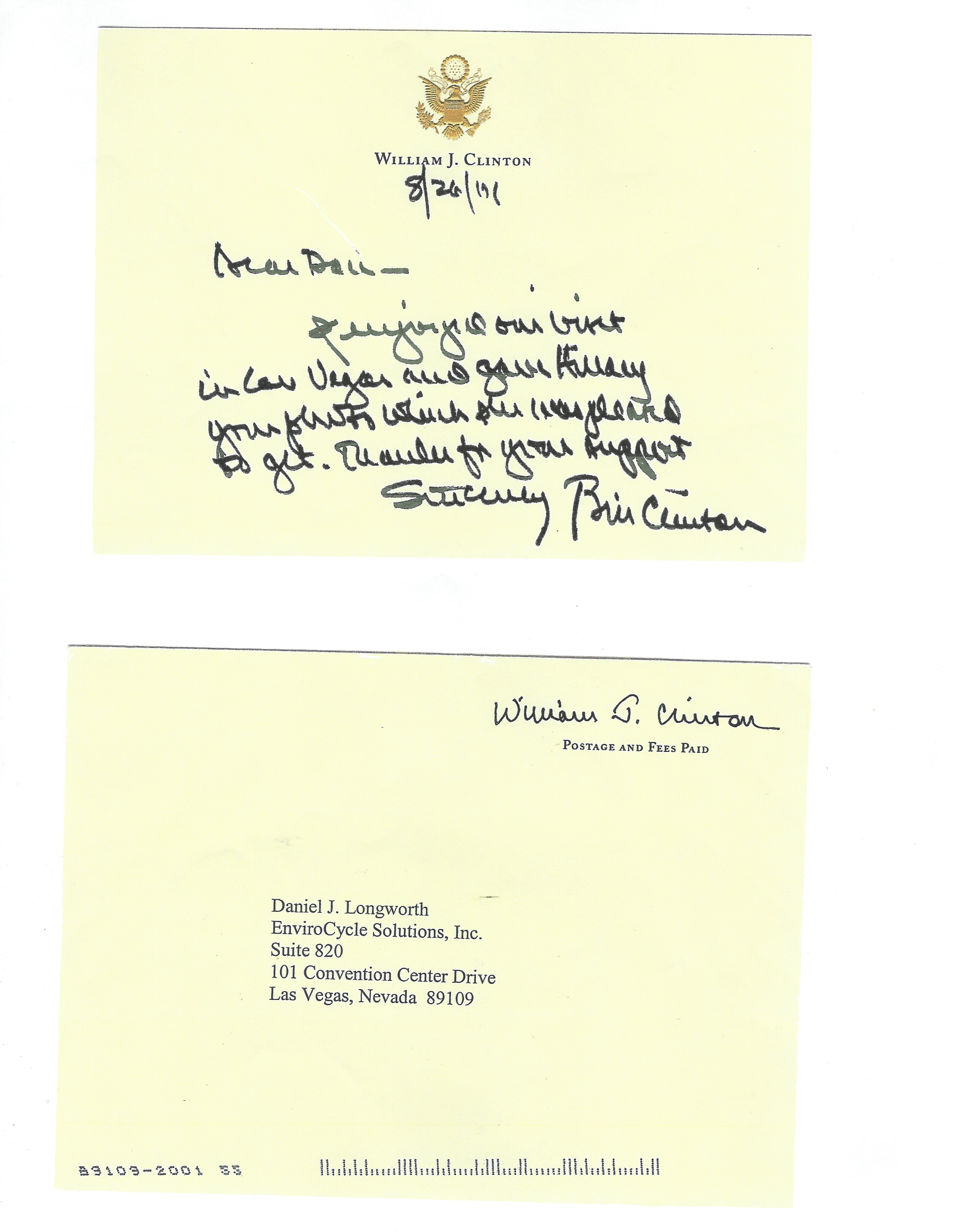Thank you Note from Bill Clinton.