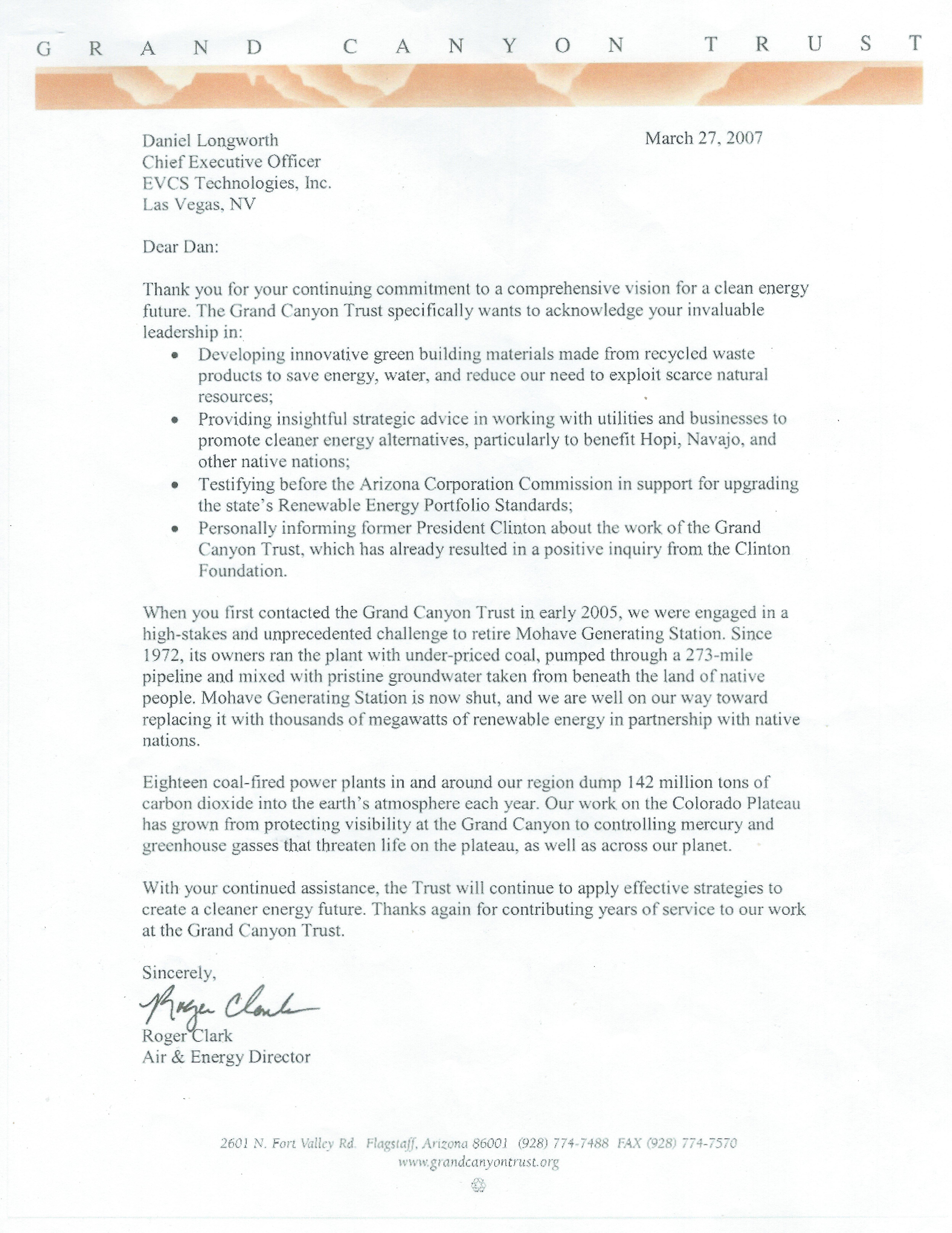 Grand Canyon Trust Advisor Letter.