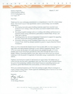 Grand Canyon Trust Advisor Letter.
