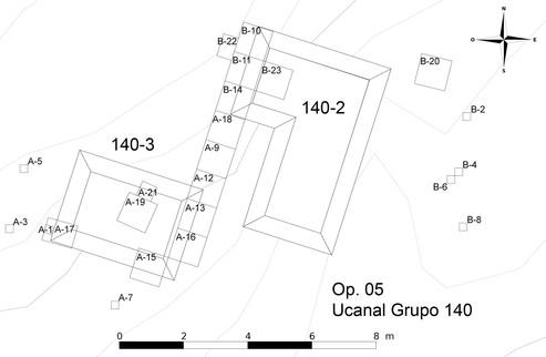 Plano de las excavaciones del Grupo 140