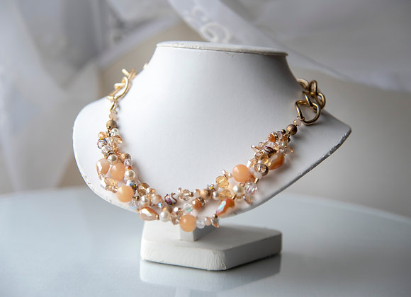 Peach and Gold Braided Necklace
