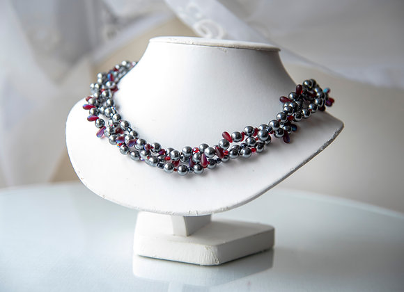 Chrome and Red Necklace