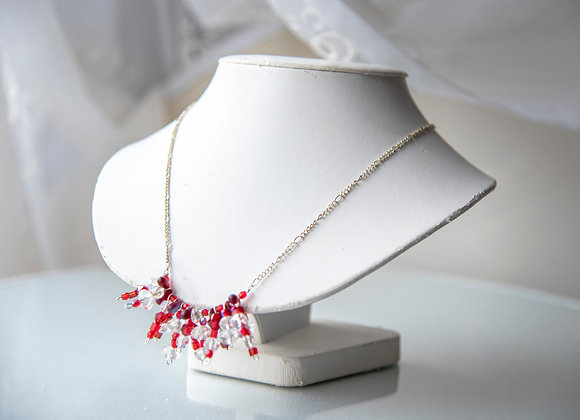 Red and White Cluster Necklace