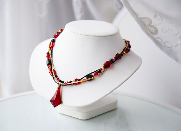 Red Black and Gold Necklace