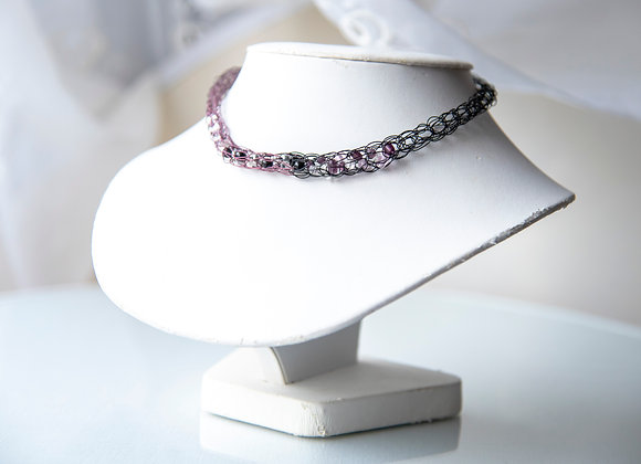 Purple and Black Corked Necklace