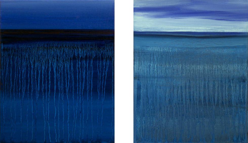 Dusk & Clouded blue, 2x30x24 cm