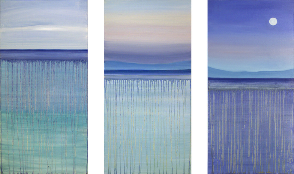 From dawn to dusk with a full moon, 3x100x50 cm