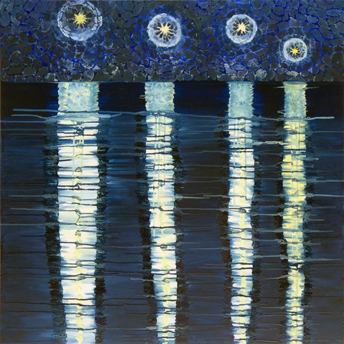 Nightlight traces, 80x80 cm