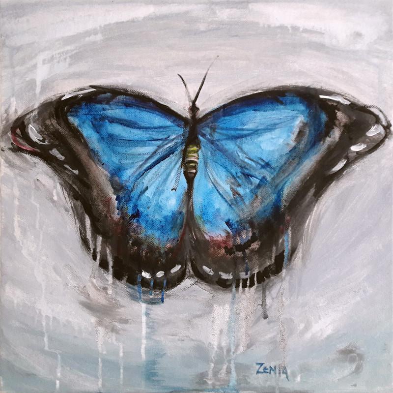 Blue butterfly, 40x40 cm