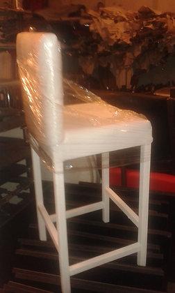 Beyaz&Siyah Ahşap Ayaklı Deri Bar Sandalyesi