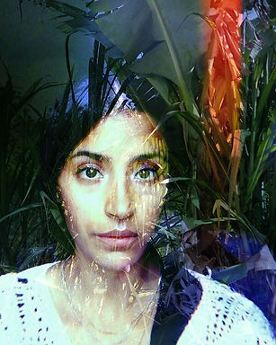 A self-portrait of Angélica in which a selfie from the neck-up is overlaid with transparent images of a guineo plant in Borinken.