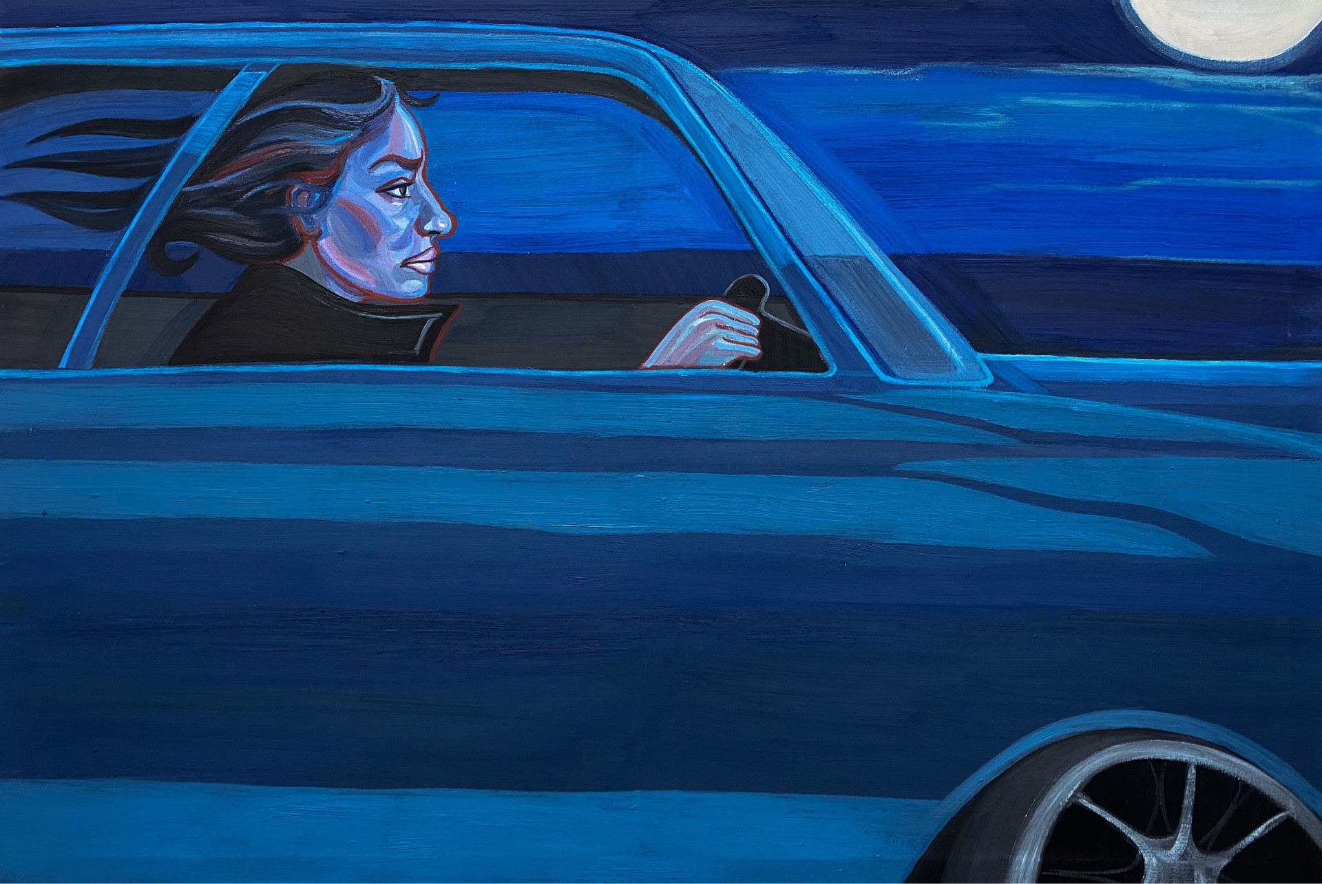 blue car painting