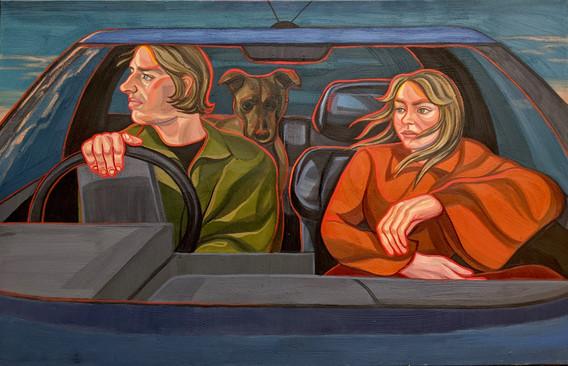 car journey goodbye england painting