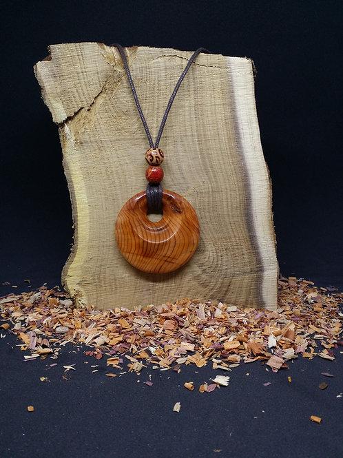 Handmade Wooden Pendant Yew Wood