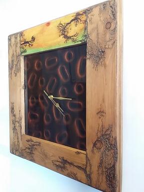 fractal burning design clock