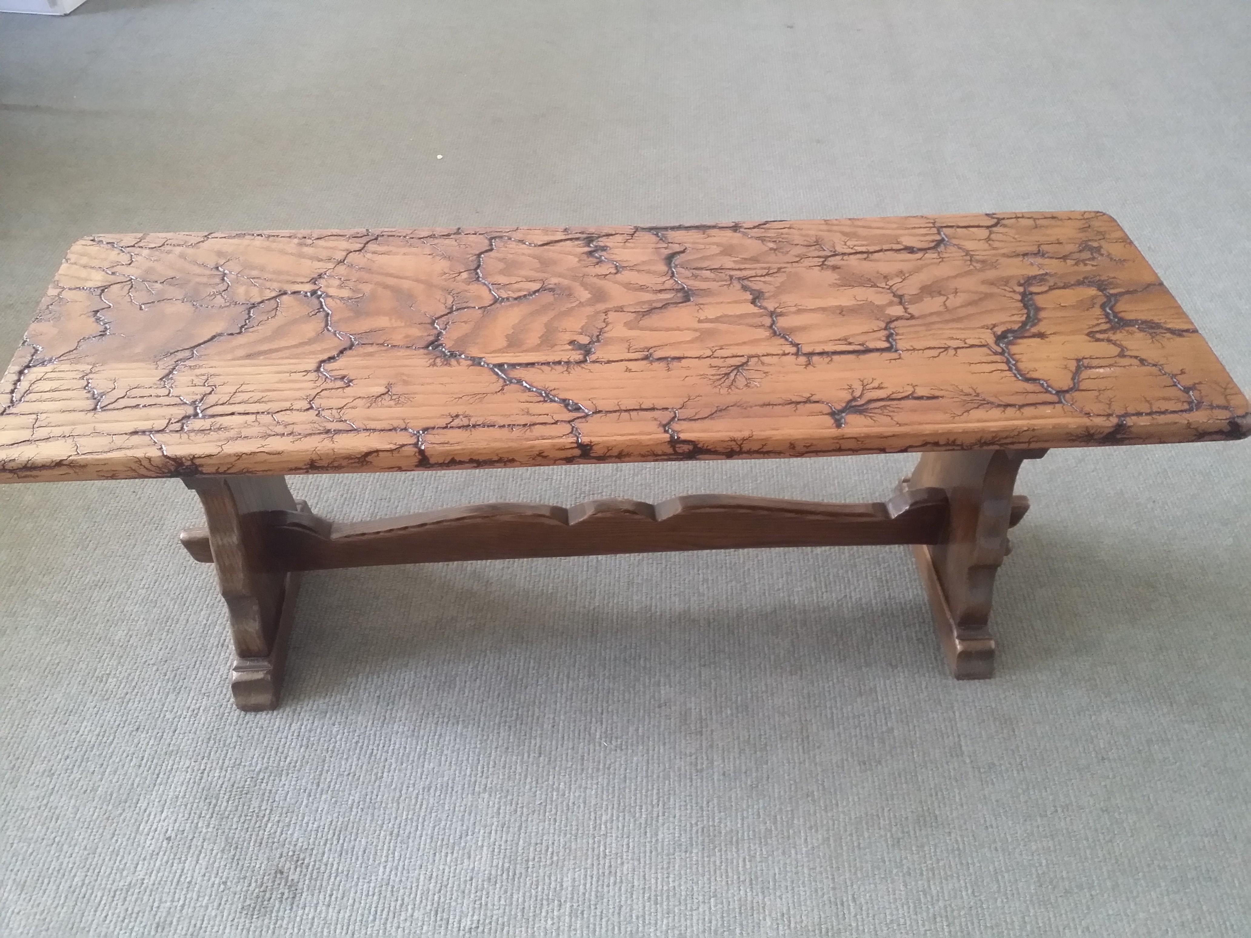 Oak table bench fractal burning design