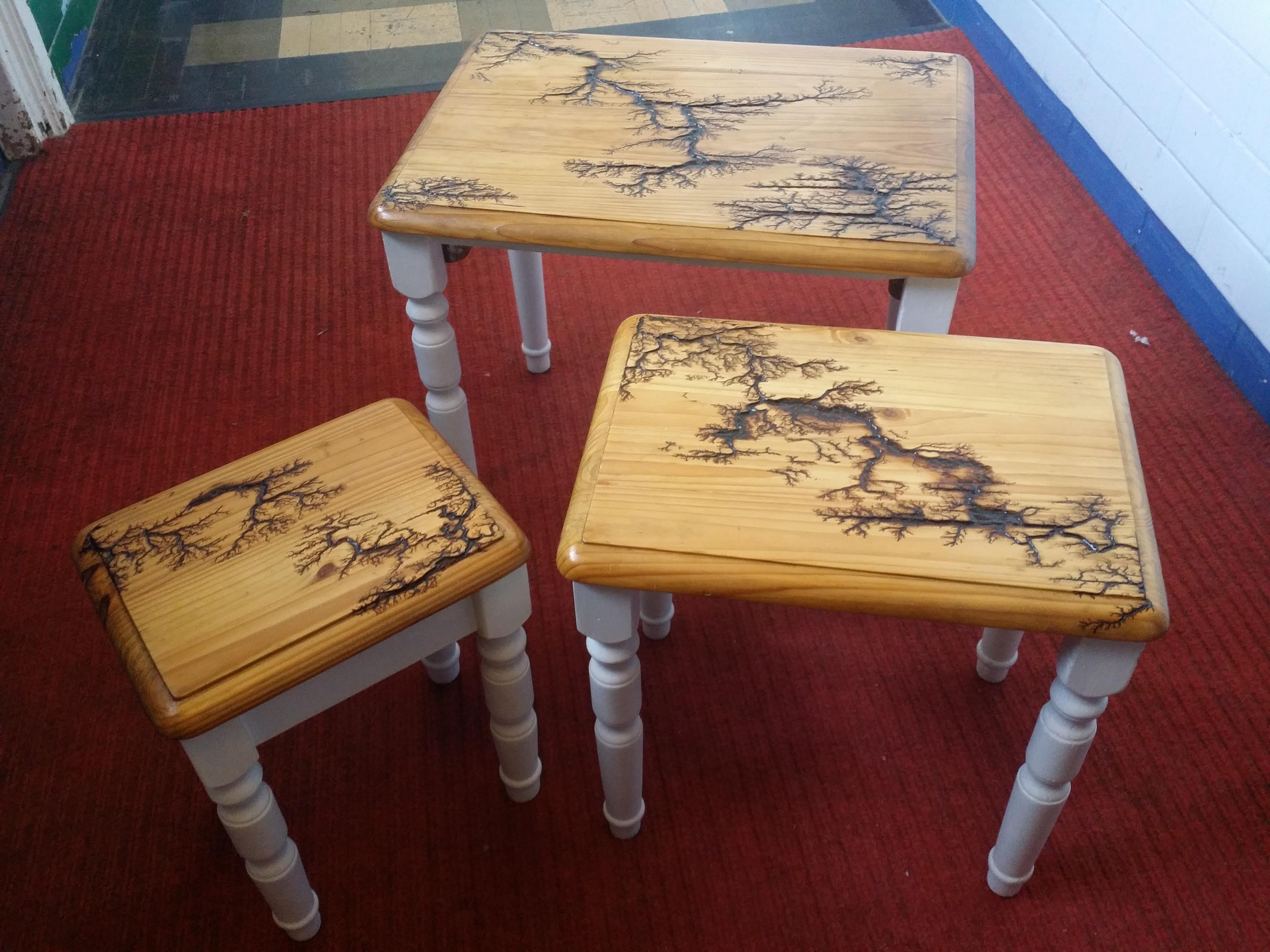 Nest  of tables with fractal burning des