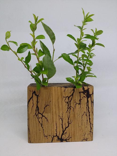 Bud Vase hand made from oak with Fractal Burning Design