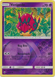 POKEMON Single Card SUN & MOON - BURNING SHADOWS (Reverse Holo) 56/147 Venipede