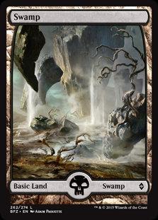 MAGIC THE GATHERING BATTLE FOR ZENDIKAR Card - 262/274 : Swamp (Full Art)