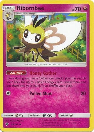 POKEMON Single Card SUN AND MOON - BURNING SHADOWS - 096/147 : Ribombee