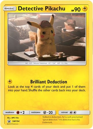 POKEMON Single Card Detective Pikachu SM194 Promo - Detective Pikachu