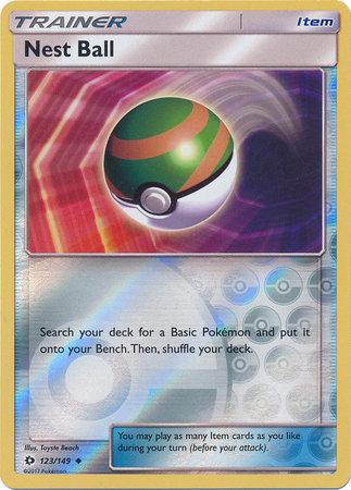 POKEMON Single Card SM - SUN & MOON BASE SET (Reverse Holo) - 123/149: Nest Ball
