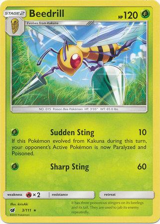 POKEMON Single Card SUN AND MOON - CRIMSON INVASION - 003/111 : Beedrill