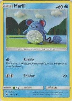 POKEMON Single Card SUN AND MOON - BURNING SHADOWS - 034/147 : Marill