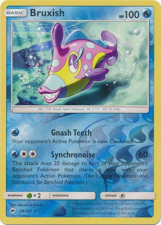 POKEMON Card SUN AND MOON - BURNING SHADOWS - 038/147 : Bruxish (Reverse Holo)