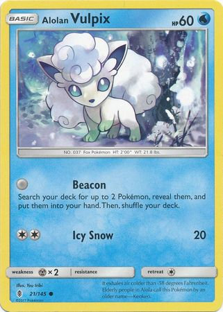 Pokemon Single Card SM - SUN & MOON : GUARDIANS RISING - 021/145 : Alolan Vulpix