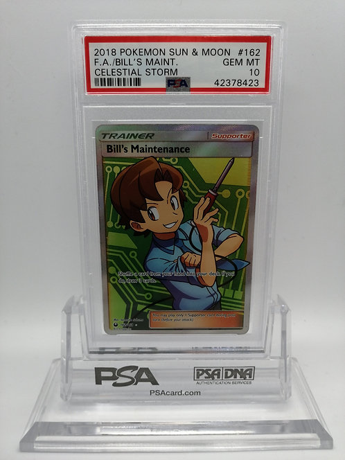 Pokemon Sun & Moon Celestial Storm 162 Full Art/Bill's Maintenance PSA 10