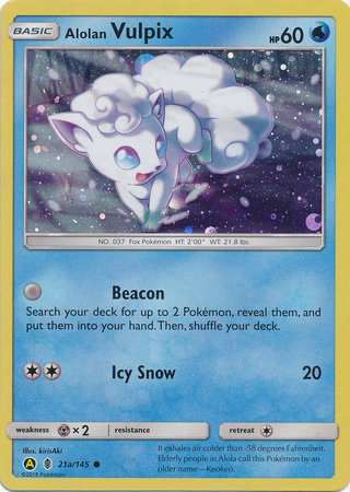 POKEMON Promotional Card - Ultra Prism Alolan Vulpix (Alternate Art) - 21a/145