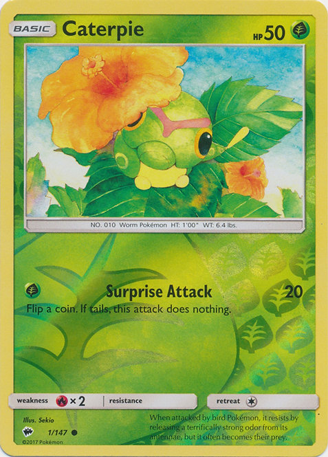 POKEMON Single Card SUN & MOON - BURNING SHADOWS (Reverse Holo) - 1/147 Caterpie