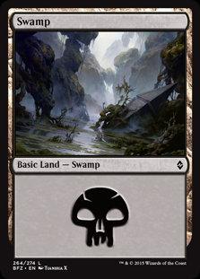 MAGIC THE GATHERING BATTLE FOR ZENDIKAR Card - 264/274 : Swamp (Full Art)