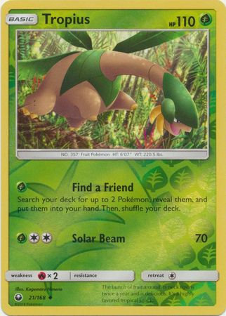 POKEMON Card SUN AND MOON - CELESTIAL STORM - (Reverse Holo) 021/168 : Tropius