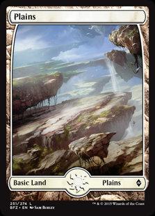 MAGIC THE GATHERING BATTLE FOR ZENDIKAR Card - 251/274 : Plains (Full Art)